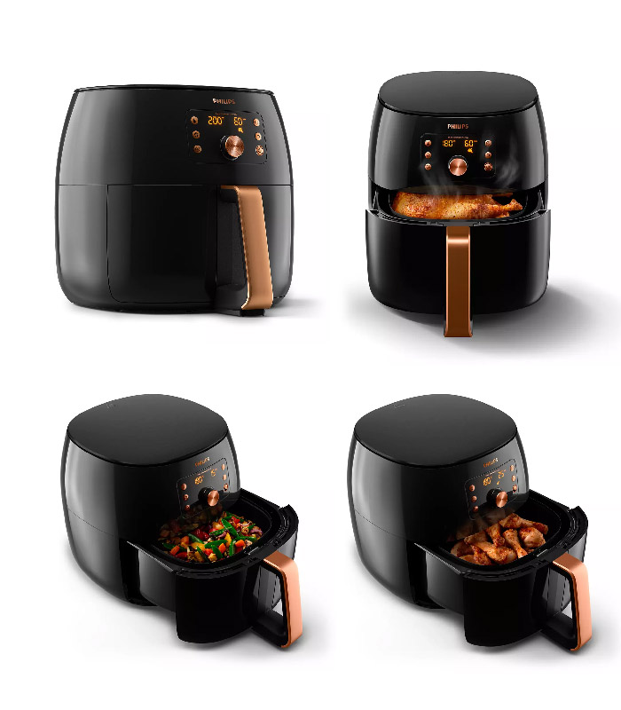 """XXL capacity,cooks a whole chicken or 1.4kg of fries -Yes, you can cook family-size meals in the new Airfryer XXL. It's full-size capacity makes cooking a large, delicious meal easy. You can cook a whole chicken or even up to 1.4 kg of fries to satisfy hungry family or friends. Cook up to six portions with the large 7.3L capacity basket. Versatile: Fry. Bake. Grill. Roast. And even reheat! -You can make hundreds of dishes in your Airfryer XXL. Fry, bake, grill, roast and even reheat your meals. Every bite is as delicious as the last thanks to Philips Air flow and the starfish design. It cooks food uniformly from all sides for perfect meals every time. Smart Sensing technology -The new generation of Philips Airfryer does the thinking for you. Enjoy perfect results in two easy steps. Choose a food type and press the button to cook. Smart sensor automatically adjusts the time and temperature for effortless perfect results. Every time! Smart Chef programs for popular dishes -Our professional chefs designed the Smart Chef programs to do the thinking and cooking for you. Fresh or frozen fries, drumsticks or a whole chicken and even a whole fish-with just one touch, your Airfryer XXL will do the thinking and cooking for you. Convenient """"Save your favorite"""" cooking setting -You can save your favorite dish and it will make it just the way you like, every time. And at the touch of one button. The favorite mode will cook your meal for the perfect time and temperature for ultimate convenience. Whether it's a delicious hot breakfast or favorite family recipe, it's perfect every time. The original Airfryer with 7 times faster airflow* -Enjoy healthier fried food that's crispy on the outside and tender on the inside with up to 90% less fat*. The Philips Airfryer XXL uses hot air (instead of oil) to fry food with little to no added oil. Philips Rapid Air creates 7x faster airflow so that you can enjoy crispier results* and delicious taste. Specifications: Accessories- Included: Rec"""