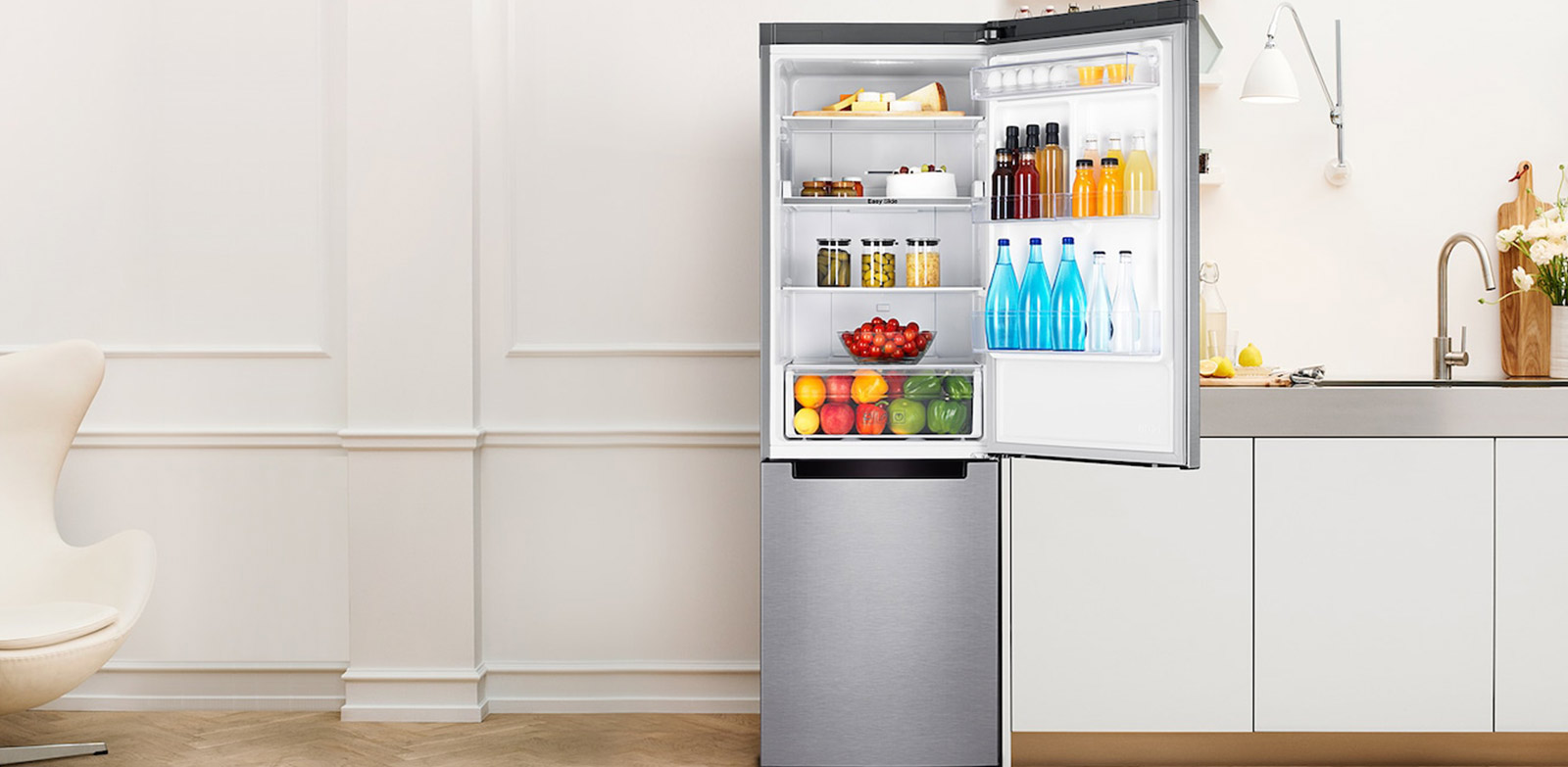 SAMSUNG - 321L Bottom Freezer With Water Dispenser And Cool Pack - RB33J3611S9